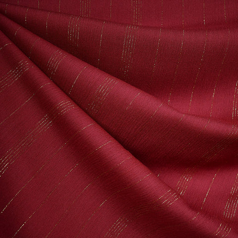 Metallic Stripe Rayon Crepe Red/Gold