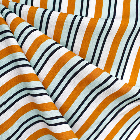 Variegated Stripe Rayon Crepe Butterscotch/Mint
