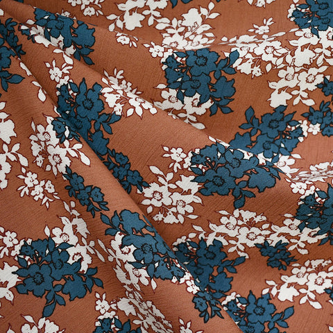 Silhouette Fall Floral Rayon Crepe Terracotta SY