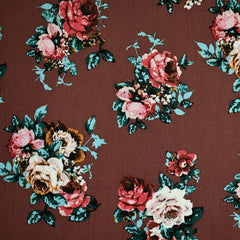 Romantic Fall Floral Rayon Crepe Brick - Fabric - Style Maker Fabrics