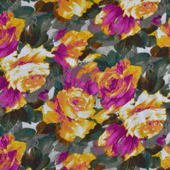 Watercolor Garden Floral Rayon Challis Mustard/Olive - Fabric - Style Maker Fabrics