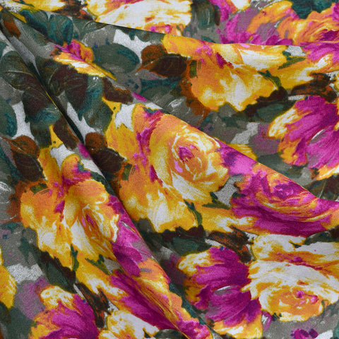 Watercolor Garden Floral Rayon Challis Mustard/Olive