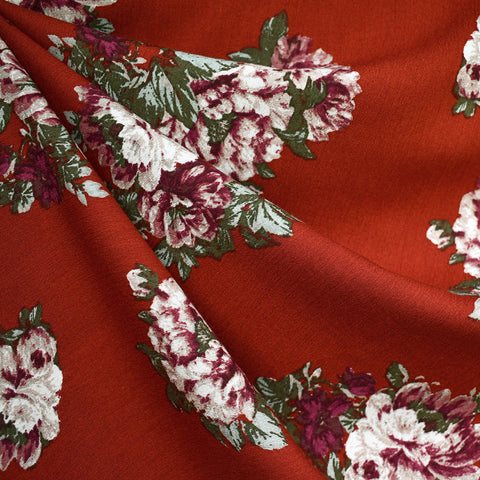 Tapestry Floral Rayon Crepe Crimson