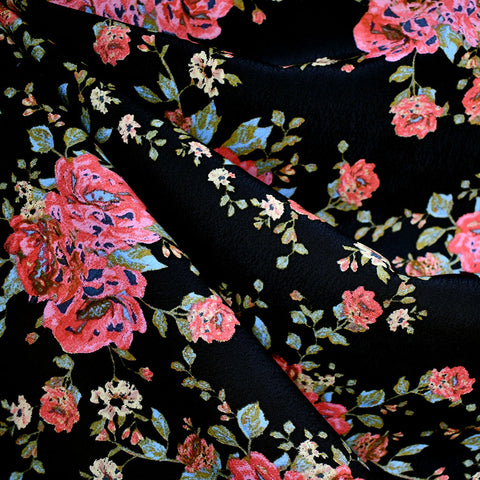 Watercolor Floral Rayon Crepe Black