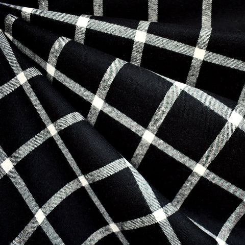 Windowpane Plaid Flannel Shirting Black/Vanilla