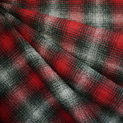 Cozy Plaid Wool Flannel Grey/Red