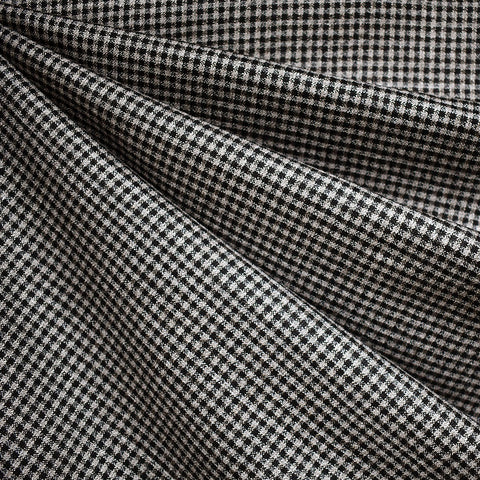 Check Plaid Wool Suiting Black/Tan