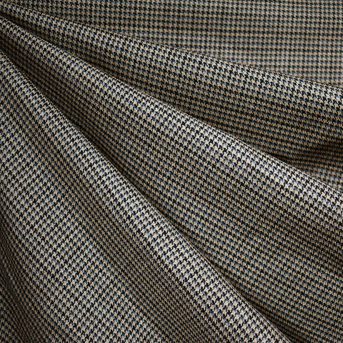 Italian Houndstooth Wool Suiting Navy/Tan