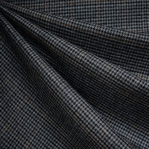 Houndstooth Plaid Worsted Wool Flannel Charcoal/Grey