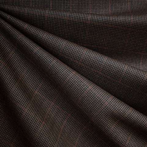Italian Glen Plaid Wool Suiting Black/Chocolate