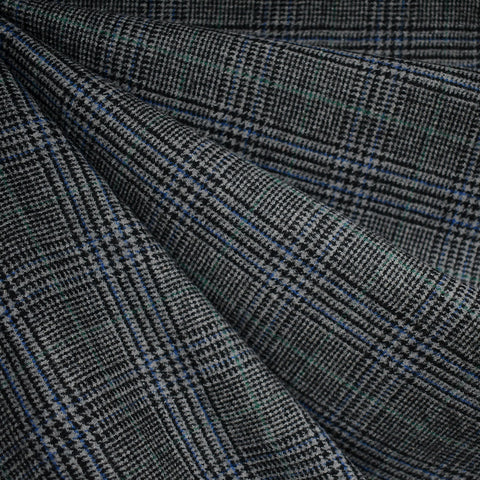 Glen Plaid Worsted Wool Flannel Charcoal/Blue/Green