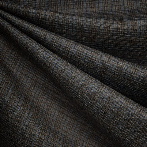 Tartan Plaid Wool Suiting Taupe/Slate