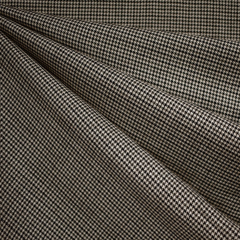 Italian Houndstooth Wool Suiting Black/Charcoal/Tan