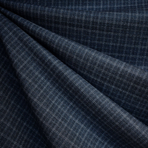 Tonal Grid Plaid Wool Suiting Navy
