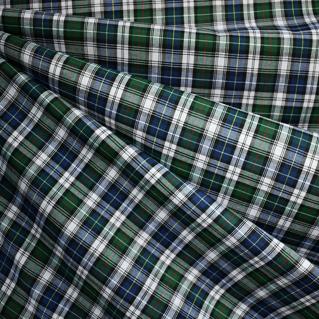 Festive Tartan Plaid Fine Shirting Navy/Hunter SY - Sold Out - Style Maker Fabrics