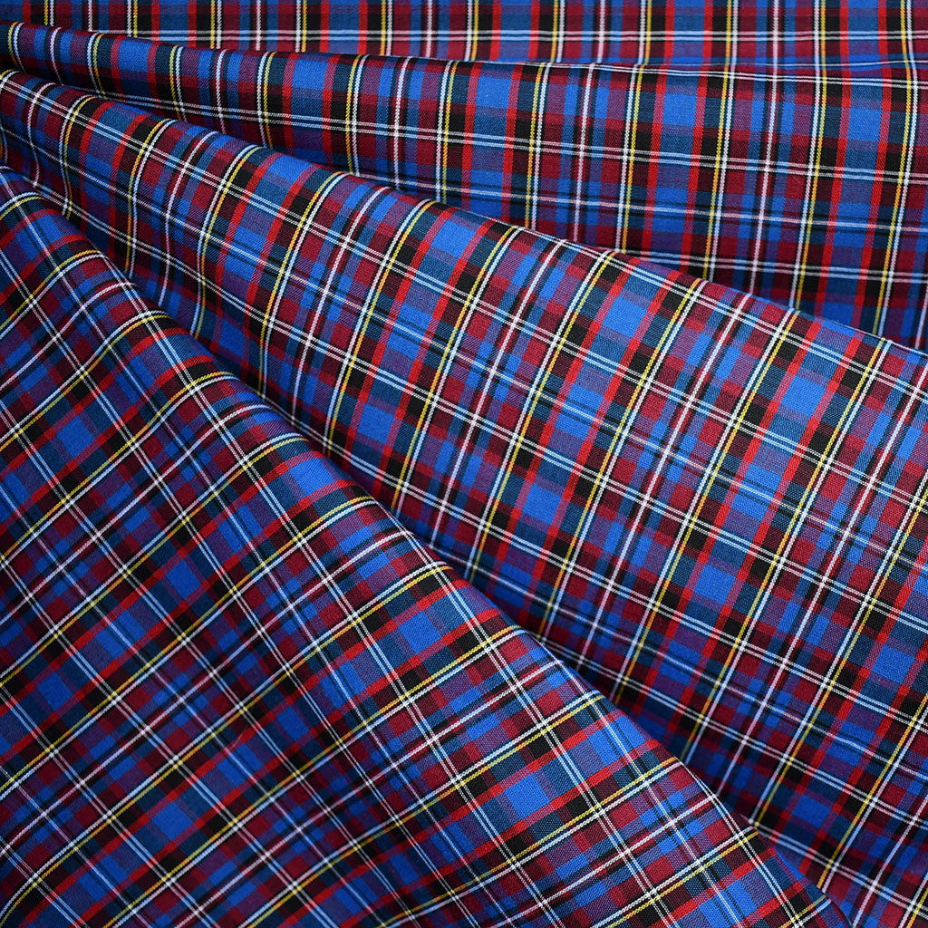Festive Tartan Plaid Fine Shirting Royal/Red - Fabric - Style Maker Fabrics