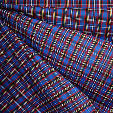 Festive Tartan Plaid Fine Shirting Royal/Red