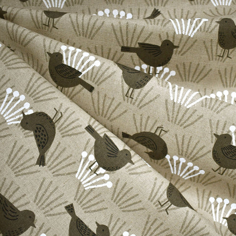 Japanese Tonal Garden Bird Canvas Natural/Taupe