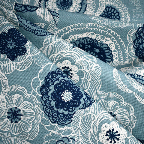 Japanese Sketch Floral Canvas Aqua/Blue