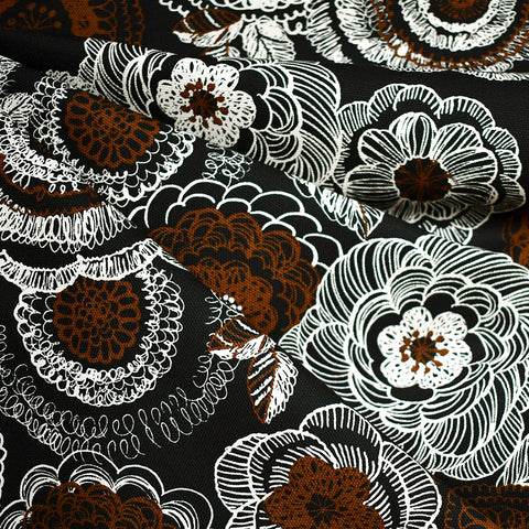 Japanese Sketch Floral Canvas Black/Chocolate