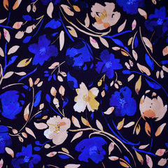 Atelier Jupe Watercolor Floral Rayon Navy/Royal - Fabric - Style Maker Fabrics