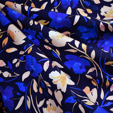 Atelier Jupe Watercolor Floral Rayon Navy/Royal SY