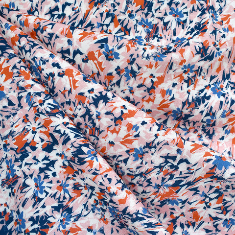 Atelier Jupe Abstract Brushstroke Floral Rayon Pink/Blue