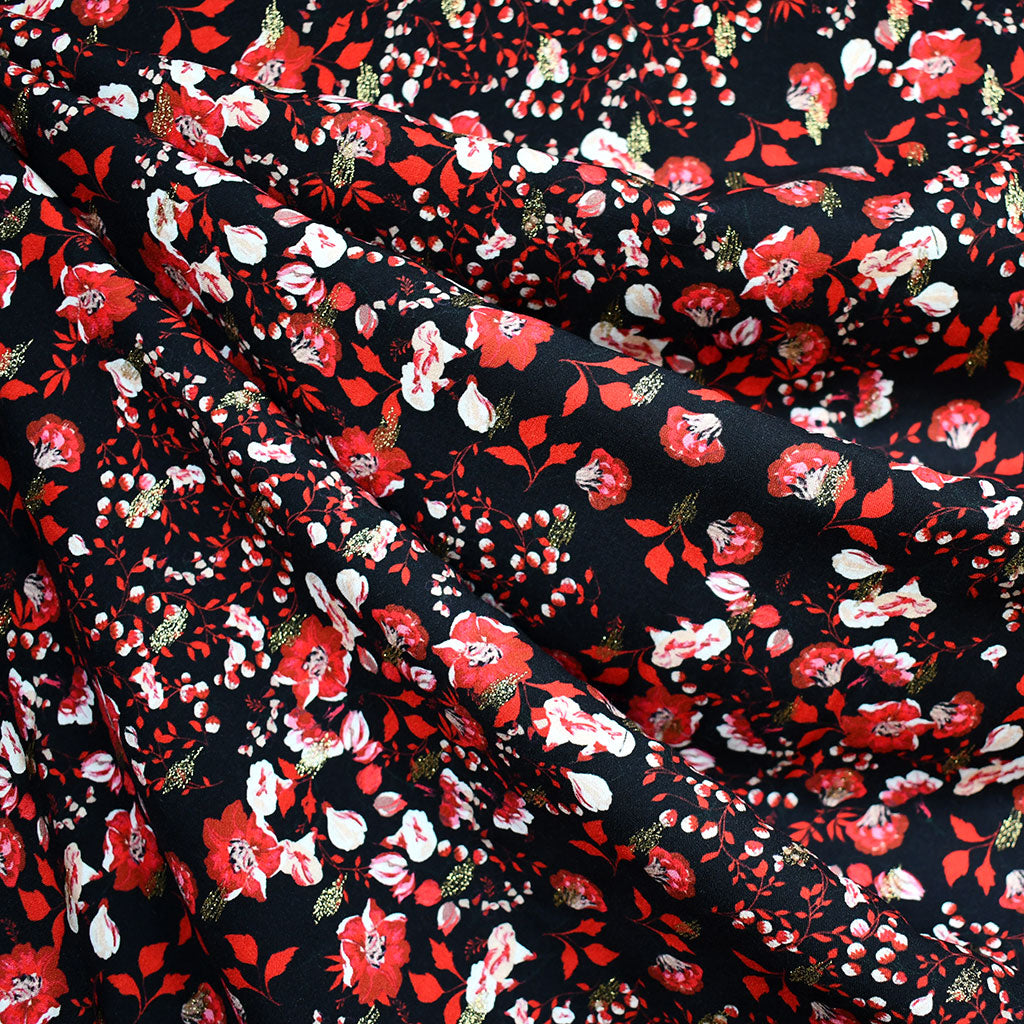 Atelier Jupe Festive Small Floral Rayon Black/Metallic Gold - Fabric - Style Maker Fabrics
