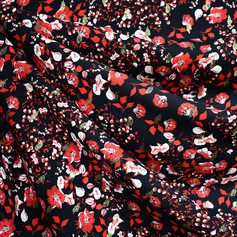 Atelier Jupe Festive Small Floral Rayon Black/Metallic Gold