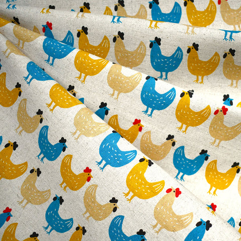 Japanese Country Chicken Canvas Mustard/Turquoise