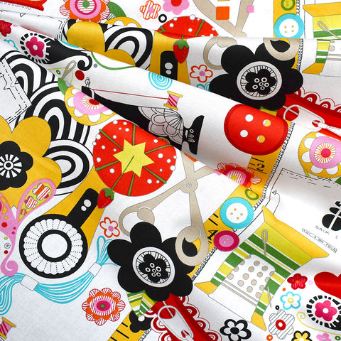 Sew Wow Collage Print Cotton White/Multi