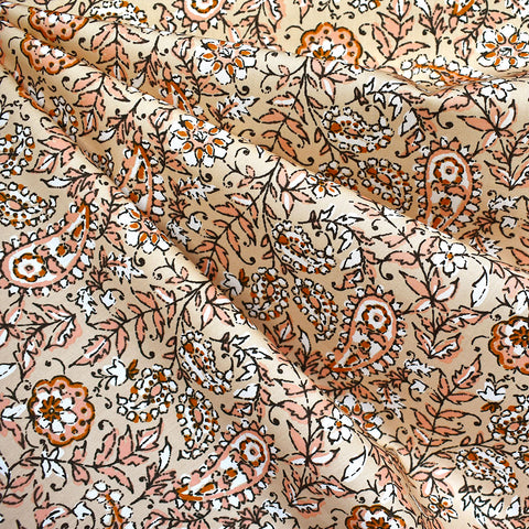 Kismet India ink Vine Floral Premium Cotton Peach—Preorder