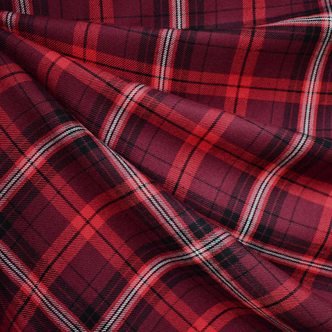 Tonal Tartan Plaid Rayon Flannel Shirting Cranberry
