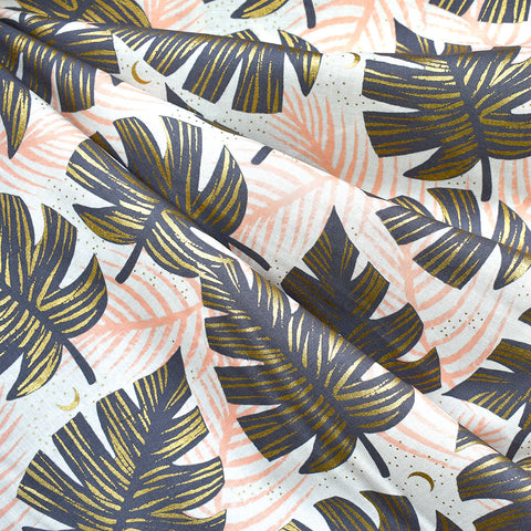 Florida Metallic Shade Palms Cotton Grey