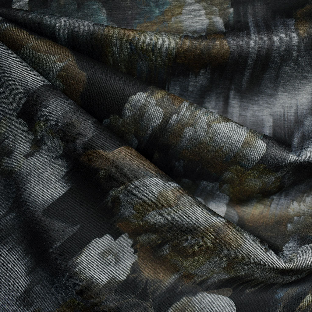 Distressed Romantic Floral Printed Ponte Knit Black/Olive - Fabric - Style Maker Fabrics
