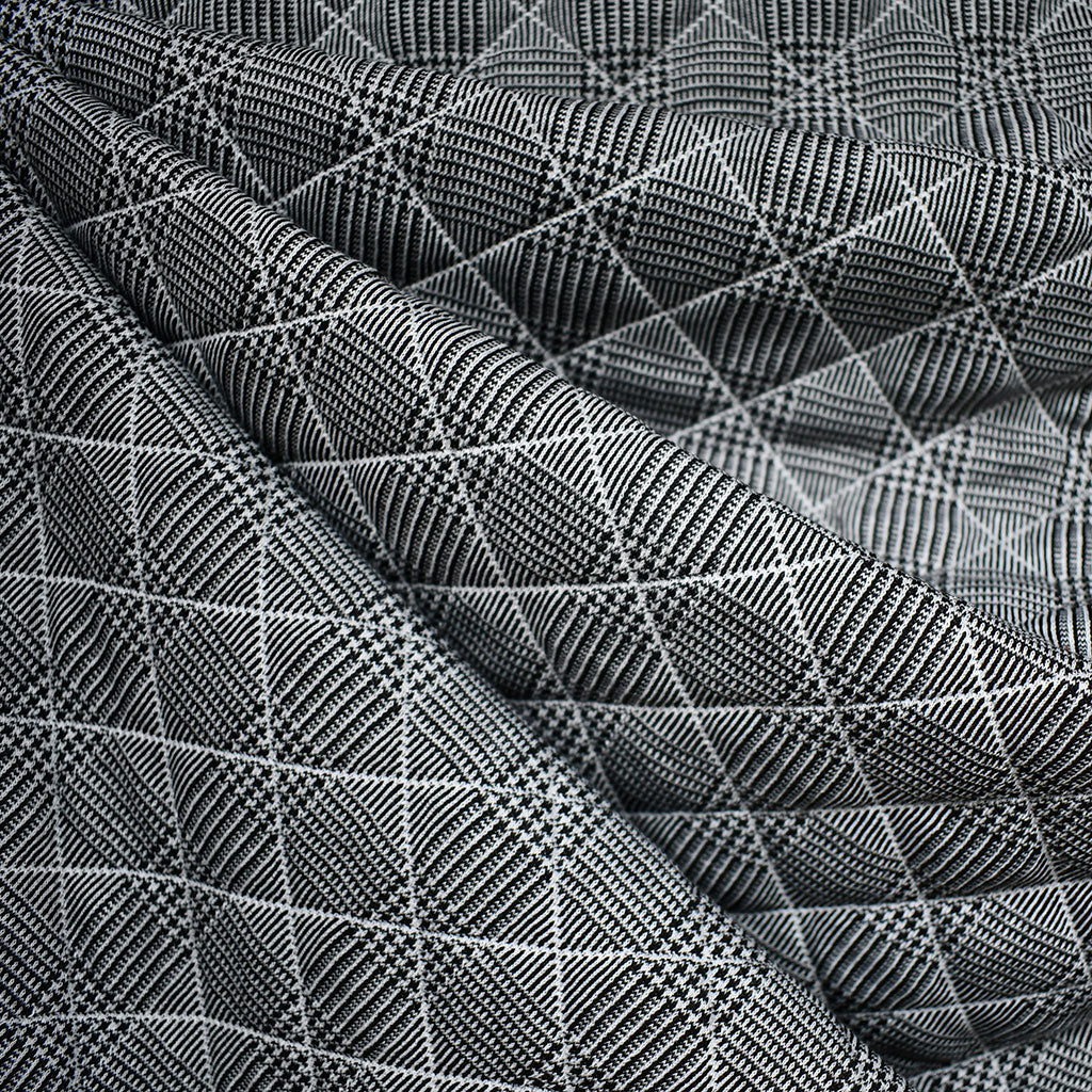 Glen Plaid Plush Quilted Double Knit Black/White - Fabric - Style Maker Fabrics