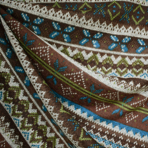 Fair Isle Print Sweater Knit Chocolate/Olive