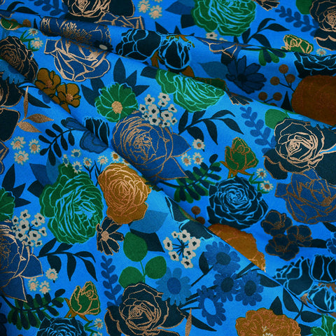 Rise Metallic Grow Garden Floral Cotton Bright Blue