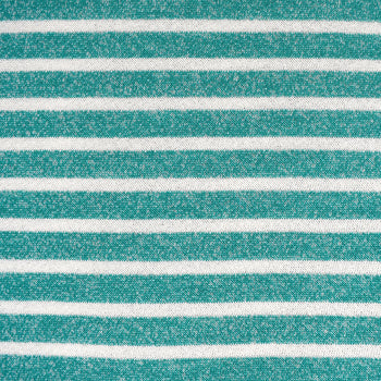 Pencil Stripe Soft French Terry Turquoise/Cream