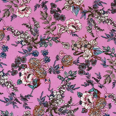 Romantic Vine Floral Rayon Crepe Pink—Preorder