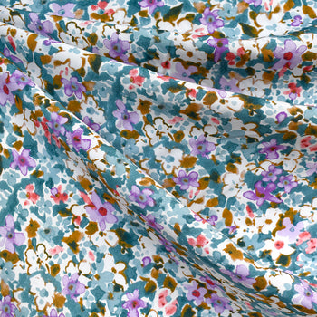 Abstract Watercolor Floral Rayon Voile Teal