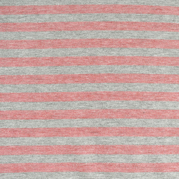 Heather Stripe Jersey French Terry Coral/Grey—Preorder