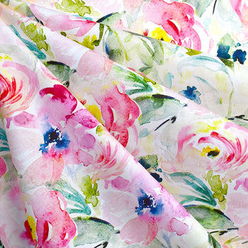 Watercolor Floral Digital Print Cotton Lawn Pink—Preorder