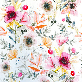 Artistic Spring Floral Digital Print Cotton Lawn Coral—Preorder