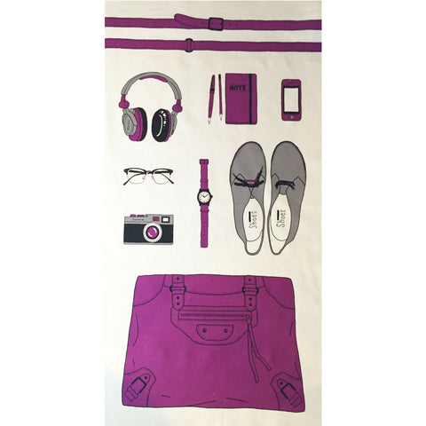 Kokka Canvas Accessory Panel Purple/Charcoal