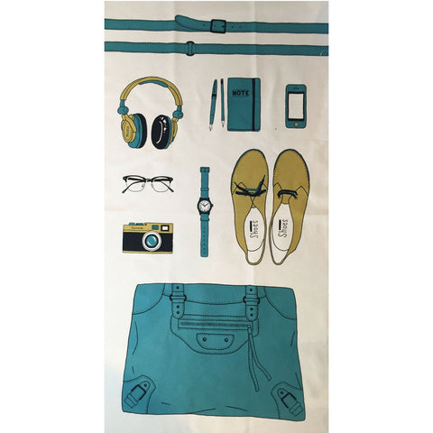 Kokka Canvas Accessory Panel Teal/Lime