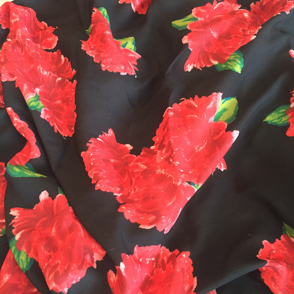 Floral Polyester Crepe Black/Red - Sold Out - Style Maker Fabrics