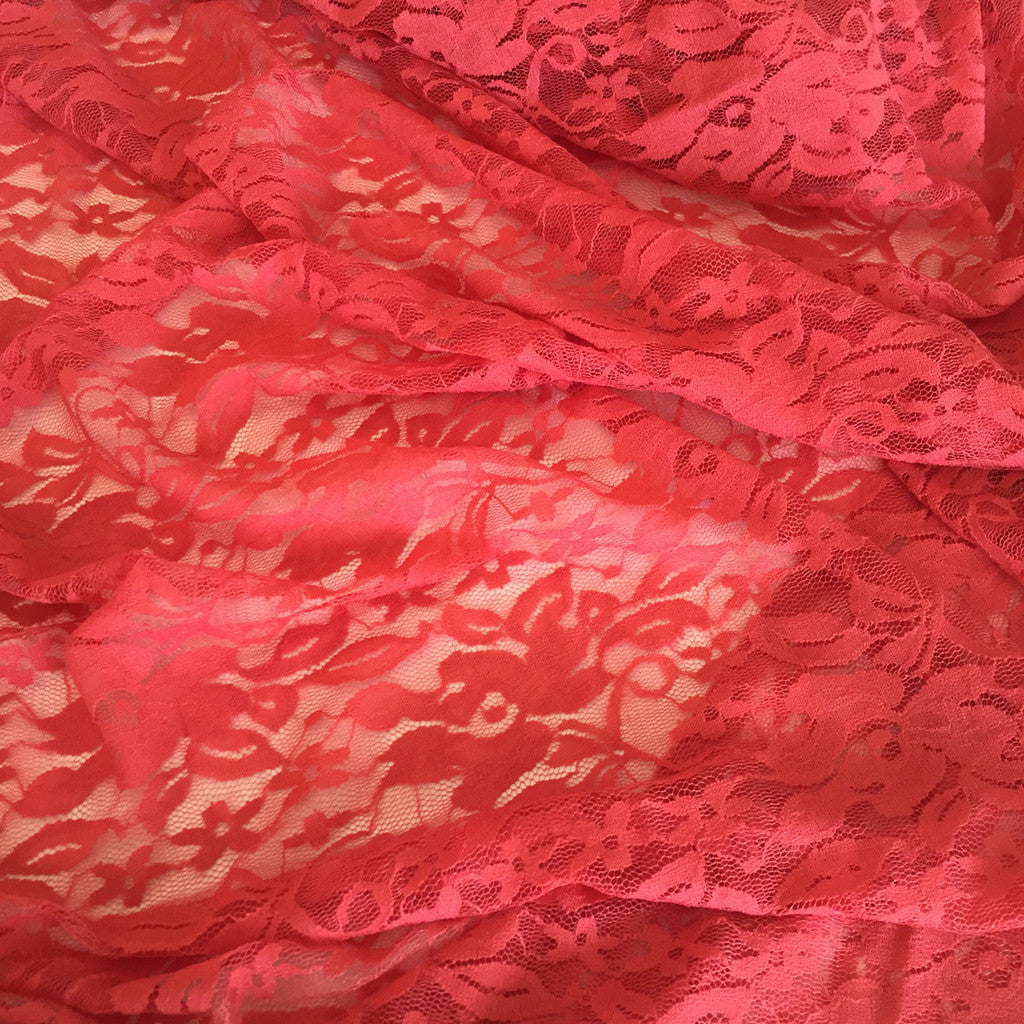 Stretch Lace Salmon - Selvage Yard - Style Maker Fabrics