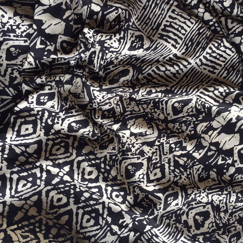 Block Print Pongee Black/Cream SY