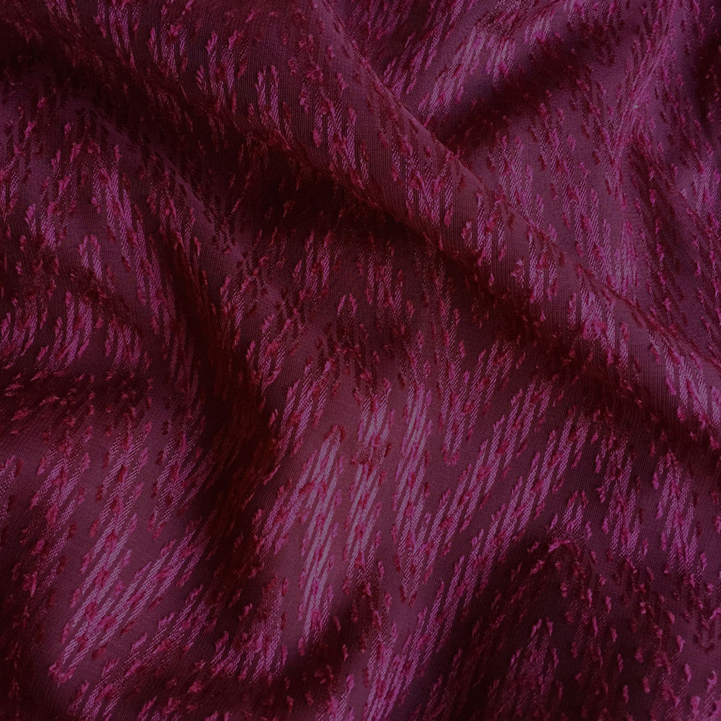 Chevron Textured Sheer Burgundy - Sold Out - Style Maker Fabrics